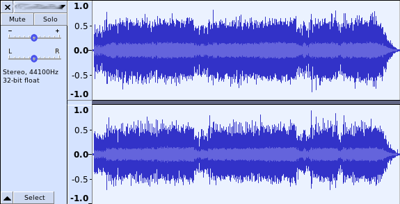 MP3 file, after getting normalized with Audacity