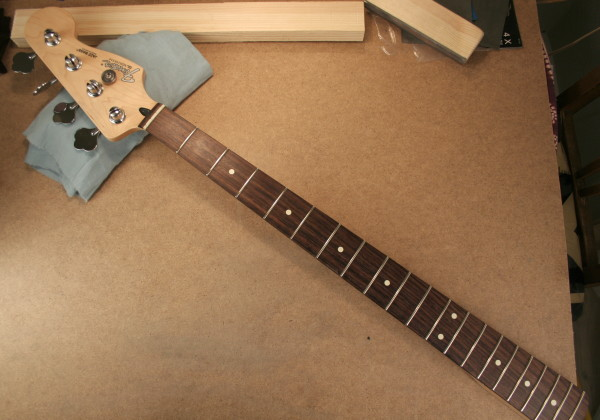Finished neck - tape off, clean with naphtha(lighter fluid)