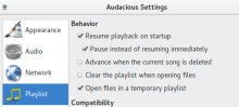 Audacious, clear the playlist when opening files