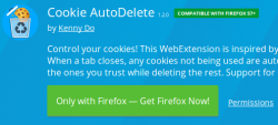 Control Firefox cookies with Cookie AutoDelete