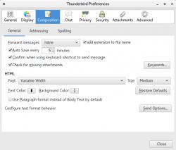 Default format as Body text in Thunderbird