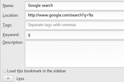 Firefox Keyword Google search