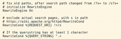 Redirect with Apache from root to path, while preserving query string