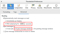 Thunderbird display settings