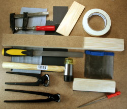 Tools for refretting an electric bass or guitar
